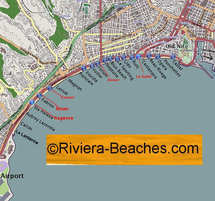Map of Nice Beaches