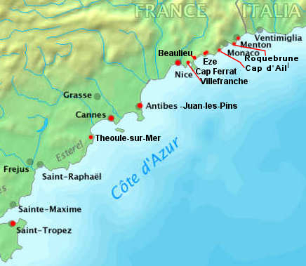 Map Of France French Riviera.Beaches Of The French Riviera