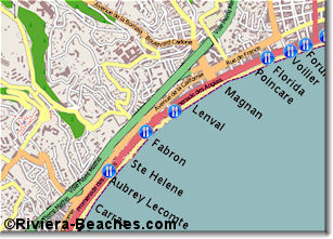 Beach map of central western Nice
