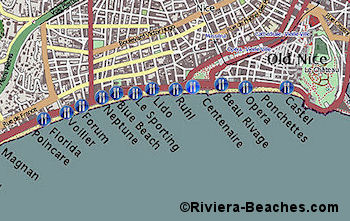 Beach map of central and east Nice
