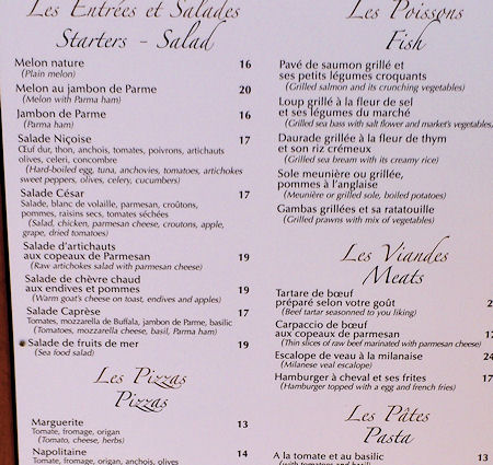 Menu extract from Le Sporting