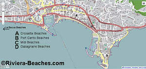 Cannes beach map