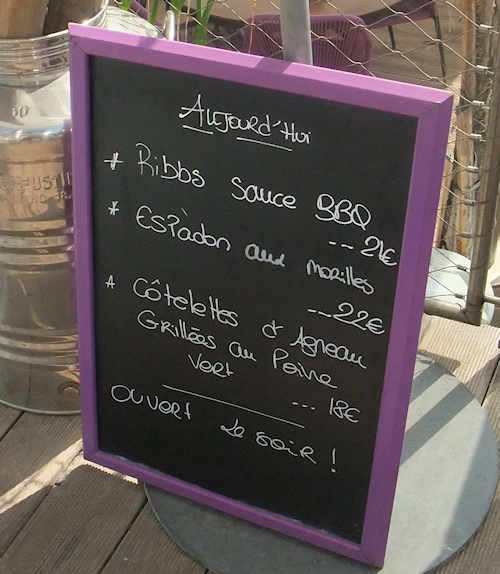 Daily menu at Riviera beach, Cannes