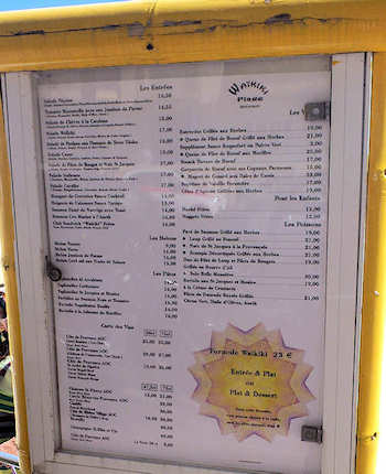 Menu of Waikiki Plage, Cannes